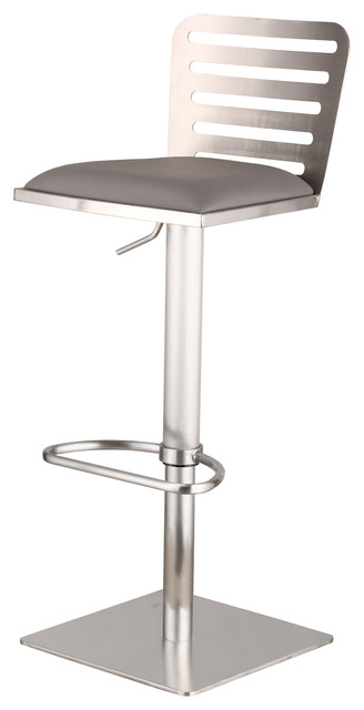 Great Delmar Adjustable Brushed Stainless Steel PU Bar Stool, Gray Contemporary  Bar Stools