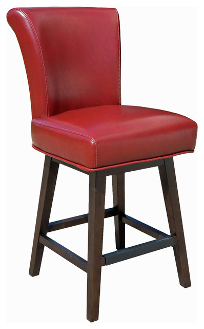 Rollback Swivel Counter Stool Red Contemporary Bar