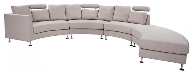 Rotunde Modern Round Fabric Modular Sofa, Beige