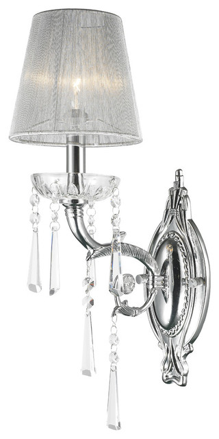 Orleans Arm Chrome Finish Clear Crystal Wall Sconce Light White String Shade