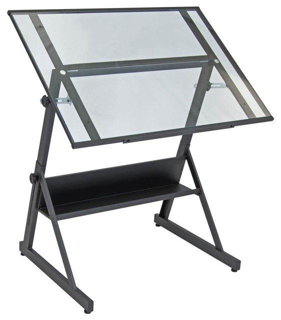Adjustable Drafting Table, Charcoal/clear.