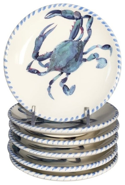 Abbiamo Tutto Blue Crab Dinner Plates Set of 6  sc 1 st  Houzz & Abbiamo Tutto Blue Crab Dinner Plates Set of 6 - Beach Style ...