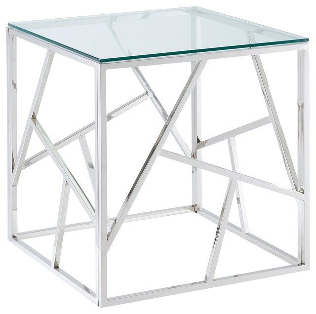 Stainless Steel Accent Table.