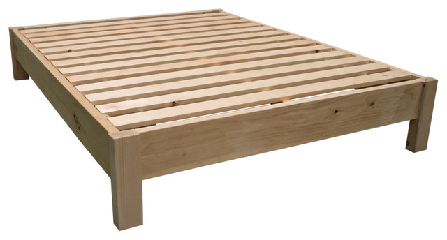 Unfinished Farmhouse Platform Bed Queen Rustic Beds By Midwest Log Furniture