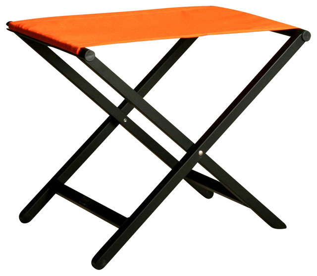 Small aluminum director style folding footstool in orange