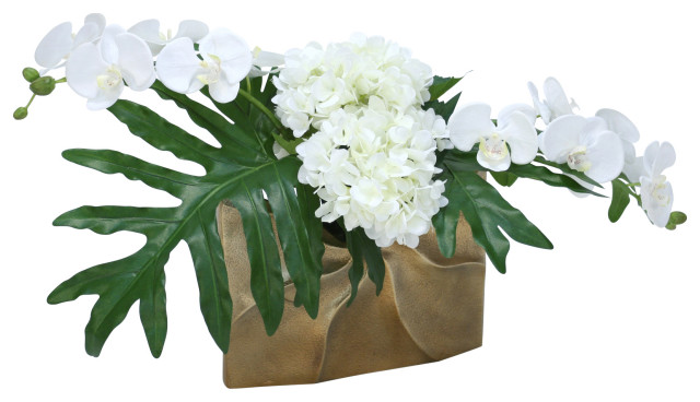 White Orchids And Hydrangeas With Philo Leaves In Gold Ritz Vase Tropical Artificial Flower Arrangements By Distinctive Designs