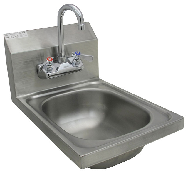 12x17 Space Saver Stainless Steel Wall Mount Hand Sink With Lead-Free Faucet.