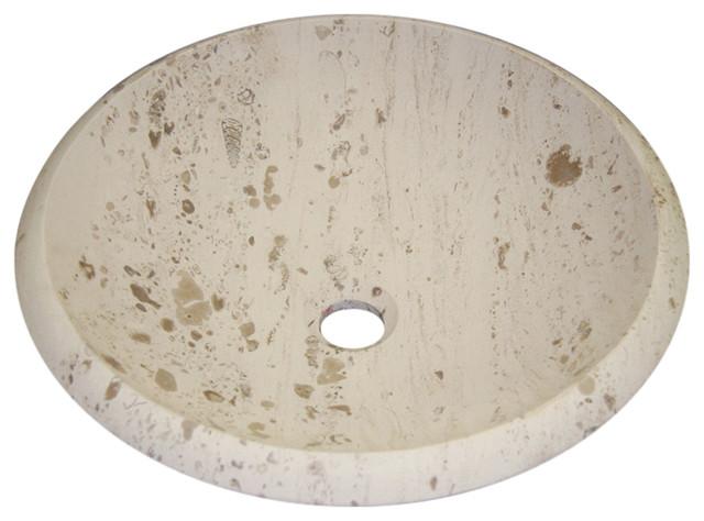 Perlina Limestone Vessel Sink, Circular, Design 10.