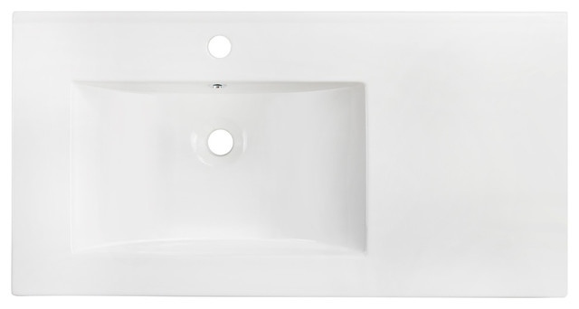 """35.5""""x18.25"""" Ceramic Top, White Color For Single Hole Faucet."""