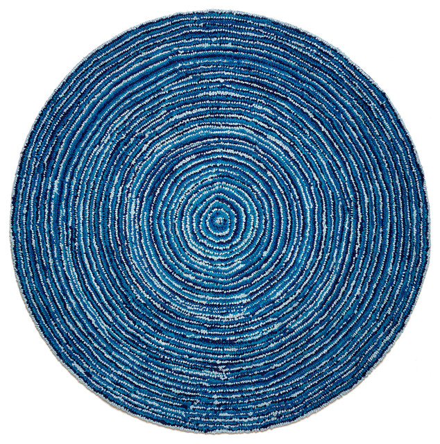 Atlas Collection Round Ripple Blue Skies Rug 6&x27; Round.