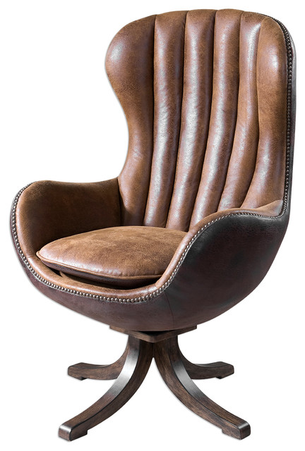Luxe MidCentury Modern Brown Sueded Swivel Chair, Desk Office Masculine  Retro
