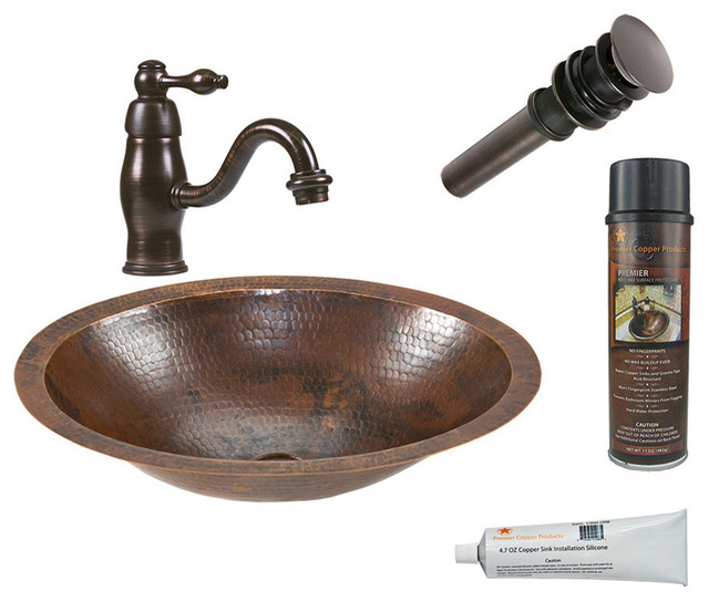 Small Oval Under Counter Hammered Copper Sink Faucet Drain Accessories Traditional