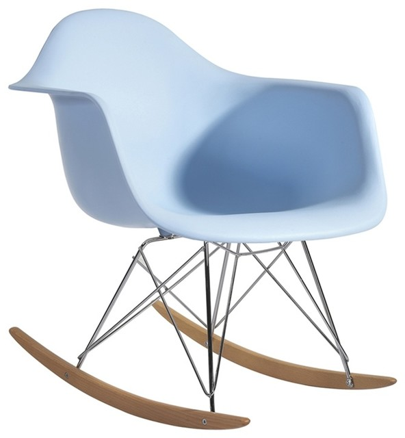 Fine Mod Imports Rocker Arm Chair, Light Blue
