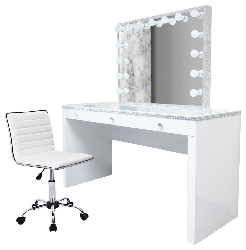 Glam-crystal Vanity Set With LED Mirror and Dimmer, White ...