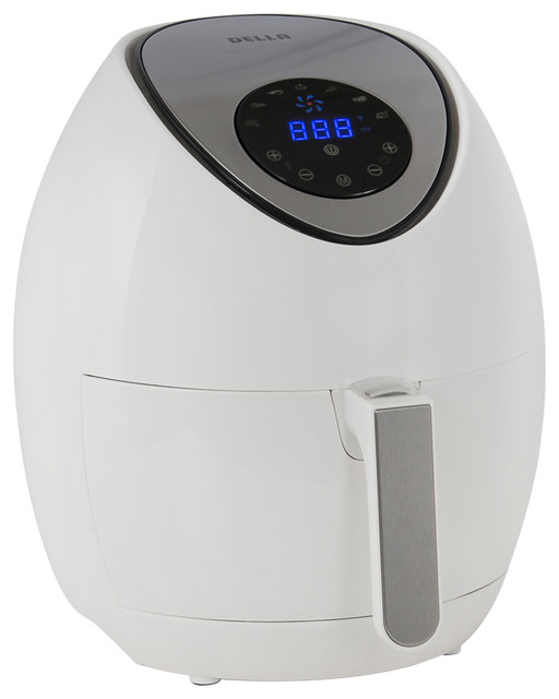 1400w Portable Electric Air Fryer Led Touch Display With Timer, White.
