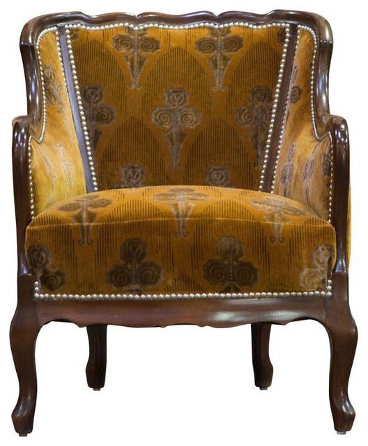 Orange Velvet Vintage Deco Club Chair   $900 Est. Retail   $450 On  Chairish.com