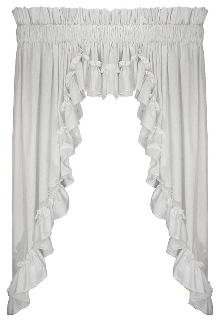 Stephanie 3 Piece Swags And Filler Valance Window White 45 1 2 Rod Pocket