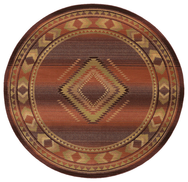 generations c red contemporary rug, ' round  southwestern, Rug/