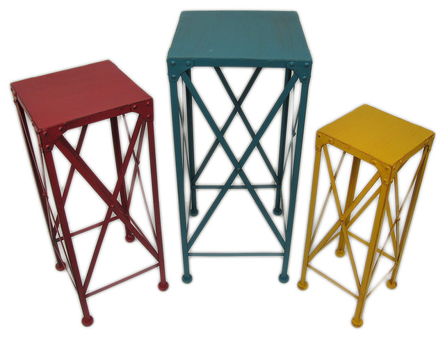 Blue Red And Yellow Decorative Metal Nesting Plant Stands, 3-Piece Set.