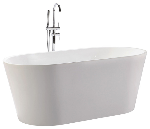 Kardiel agora freestanding acrylic bathtub white for Pros and cons of acrylic bathtubs