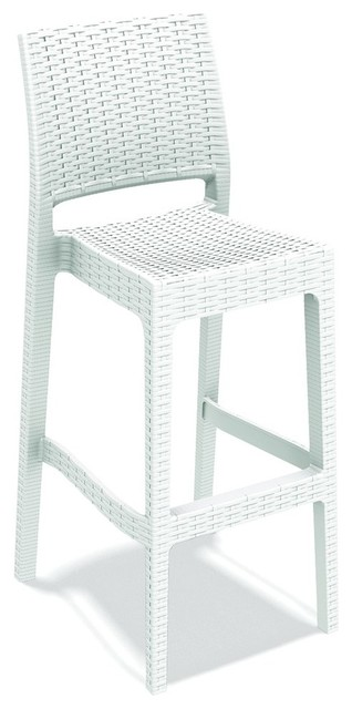 quality design 61172 ec190 Resin Wickerlook Commercial Grade Outdoor Bar Stools, White, Set of 2