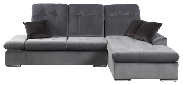 Classic Modern Brush Microfiber L Shape Sectional Sofa