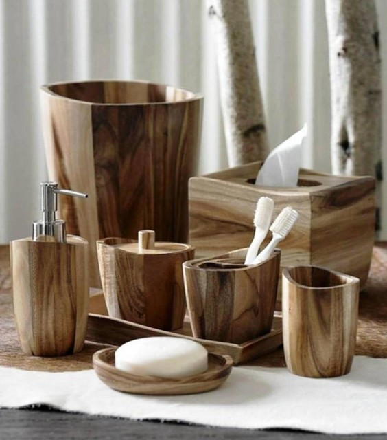 Unique Bathroom Accessories Sets. Acacia Wood Bath Accessories By Kassatex