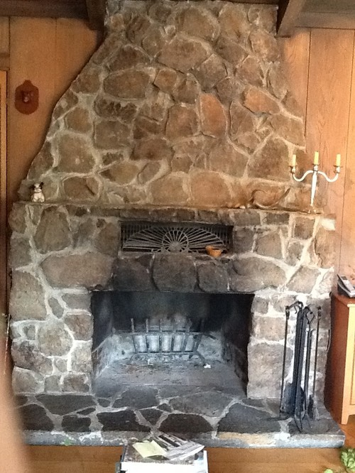 Refurbish old stone fireplace