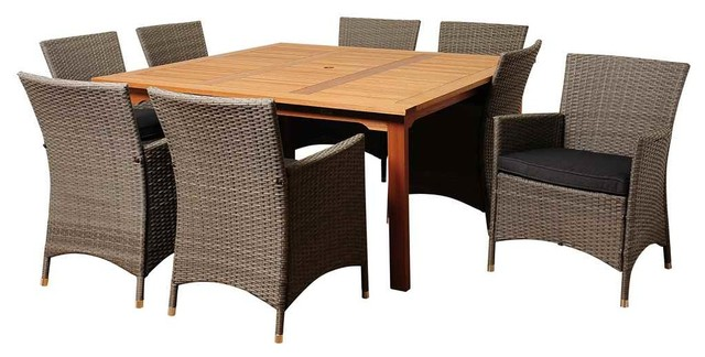 Normand 9-Piece Eucalyptus And Wicker Square Patio Dining Set With Grey Cushions.