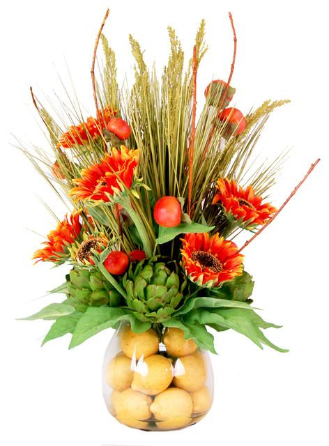 Sunflowers And Lemon Arrangement Orange Farmhouse Artificial Flower Arrangements