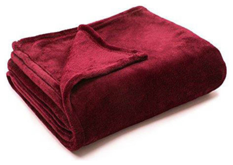 Solid Burgundy Flannel Throw Plush Cozy Super Soft Reversible Fleece Blanket.
