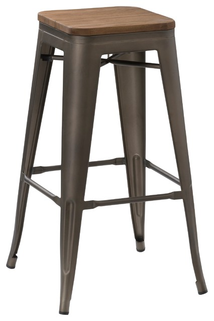 """Antique-Style Copper Rustic Stools Handmade Wood Top, Set of 4, 30"""""""