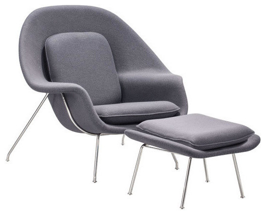 Homeroots Furniture Chair And Ottoman Polyblend Chromed