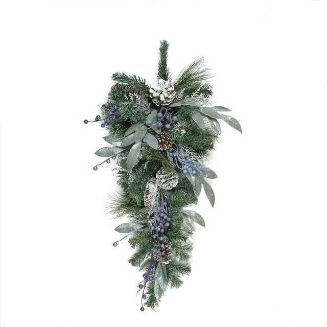 """28"""" Mixed Pine/blueberries/snowy Pine Cones Artificial Christmas Teardrop Swag."""