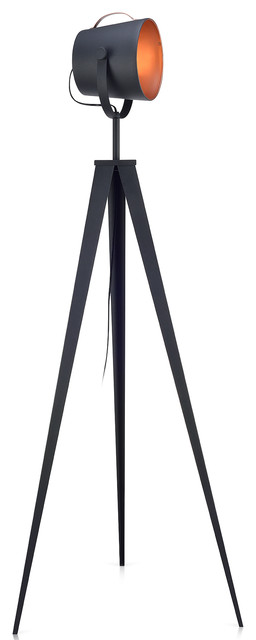 Versanora Artiste Tripod Floor Lamp With Shade, Black And Rose Gold Finish.