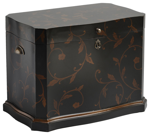 Mediterranean Hand Painted Black and Gold Trunk
