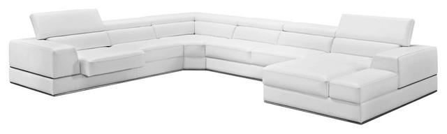 VIG Furniture, Divani Casa Pella Modern White Bonded Leather Sectional Sofa