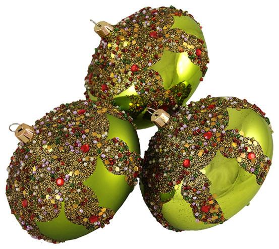 Set of 3 Glitter Sequin Beaded Shatterproof Christmas Onion ...