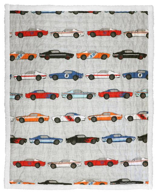 Race Cars Sherpa Throw, Blue/orange.