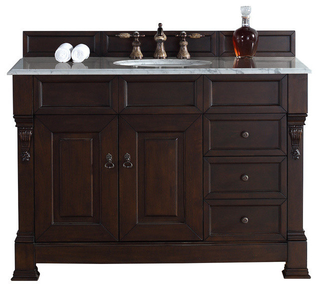 48 Vanity Cabinet, Drawers, Burnished Mahogany, No Counter Top.