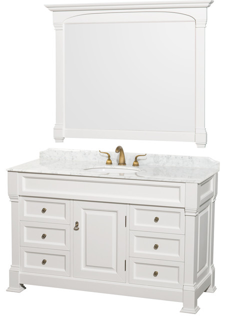 Andover 55 Single White Vanity, White Carrera Top, Oval Sink, 50 Mirror.