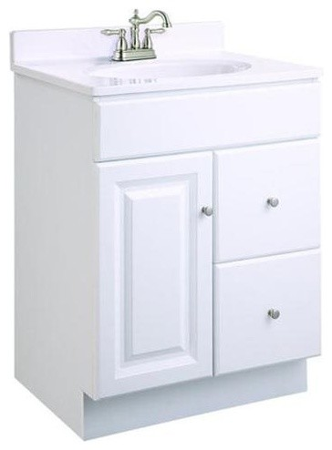 Wyndham White Semi Gloss Vanity Cabinet With 1 Door And 2 Drawers  Transitional