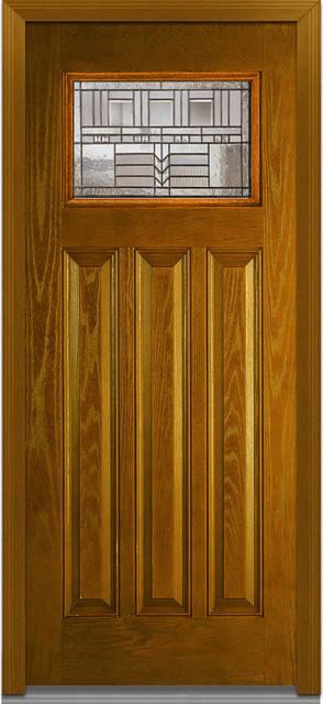 Oak Park 3-Panelsman Fiberglass 37.5\ x81.75\  LH In-Swing & Oak Park Decorative Glass 3-Panel Craftsman Fiberglass Oak Front ...