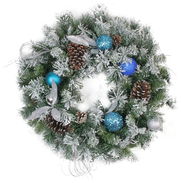 Teal and Silver Ball Flocked, Pine Cones Artificial Christmas Wreath, Unlit