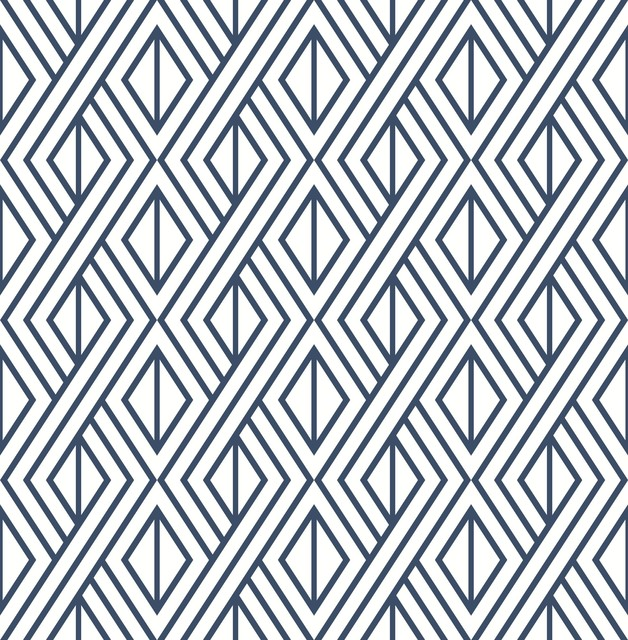Nextwall Nw30106 Diamond Geometric Navy Blue Peel Stick Wallpaper Contemporary Wallpaper By The Savvy Decorator Llc