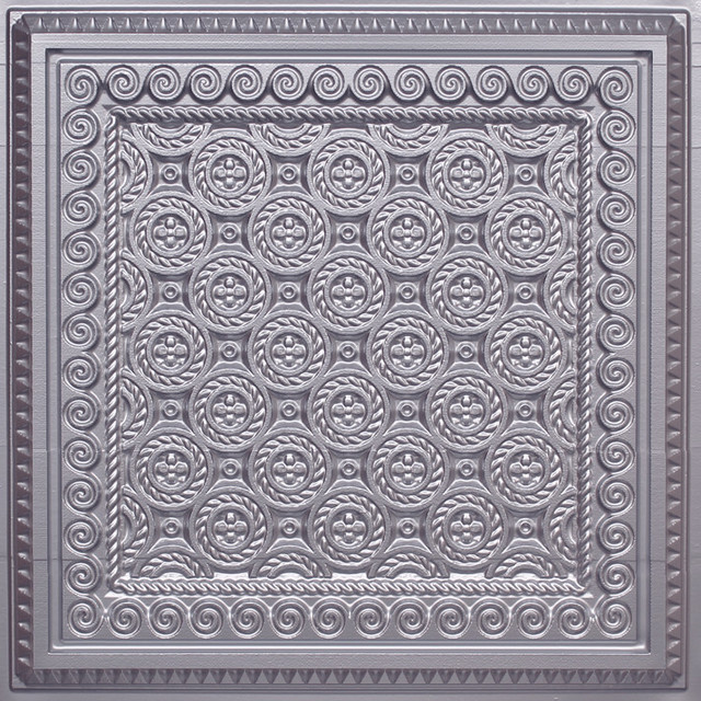 24 X24 D243 Pvc Silver Faux Tin Look Ceiling Tiles Traditional Tile By Euro Deco Ceilings Inc