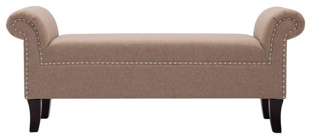 Kathy Roll Arm Entryway Bench, Incense Tan.