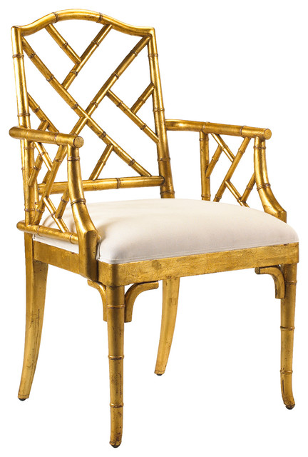 Brand new Chinese Chippendale Hollywood Regency Gold Bamboo Dining Arm Chair  OJ83