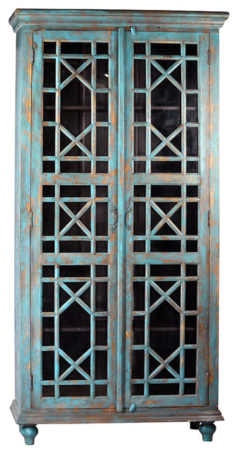 Painted Display Cabinet - Mediterranean - China Cabinets And Hutches ...