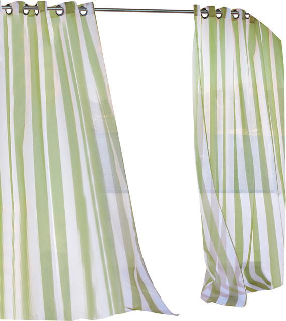Outdoor Decor Escape Sheer Stripe Grommet Top Curtain Panel Green 54 X84